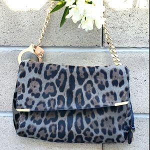 Jimmy Choo Ally Calf Hair Leopard Shoulder Bag